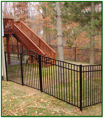 Iron Fence Around a Back Yard